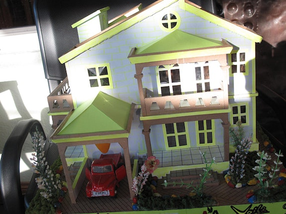 Close-up of miniature gingerbread house