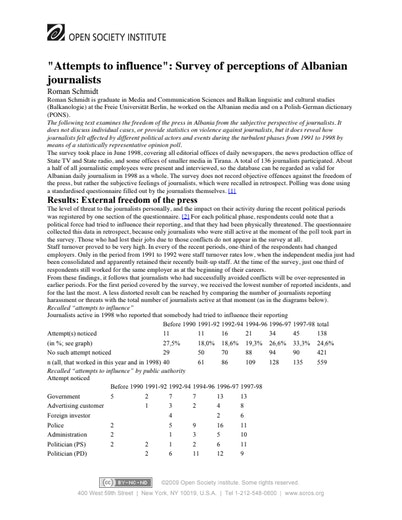 First page of PDF with filename: albania-journalist-perceptions-20031001.pdf