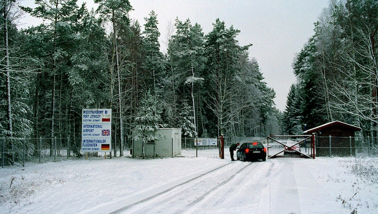 A checkpoint covered in snow