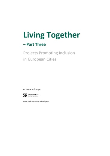 First page of PDF with filename: living-together-part-three-projects-promoting-inclusion-european-cities-20140623.pdf