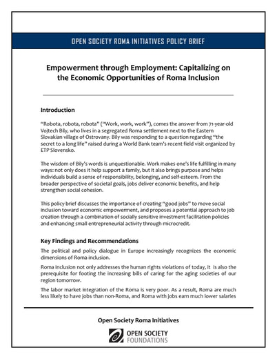 First page of PDF with filename: Empowerment-through-Employment-Brief-20120918.pdf
