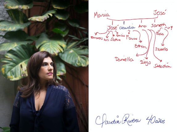 A portrait of a woman next to the drawing of a family tree