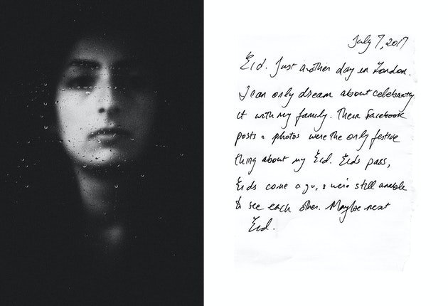 A portrait next to a hand written letter