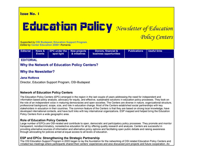 Education Policy: The Role of Education Policy Centers - Open