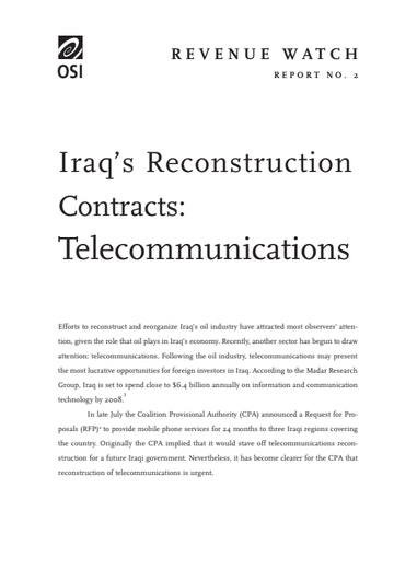 First page of PDF with filename: iraqreconstructioncontracts_0.pdf