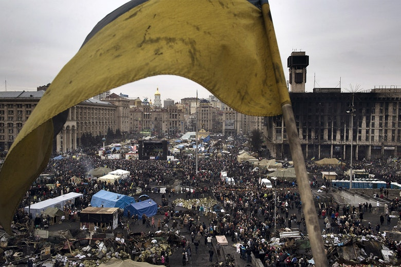 Crowds gather at Independence Square in Kyiv, Ukraine, on February 23, 2014.