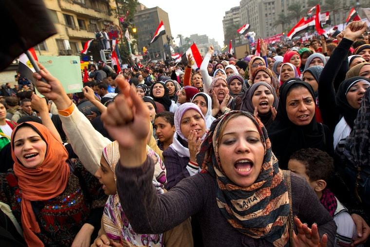 Hundreds of women demonstrators marching
