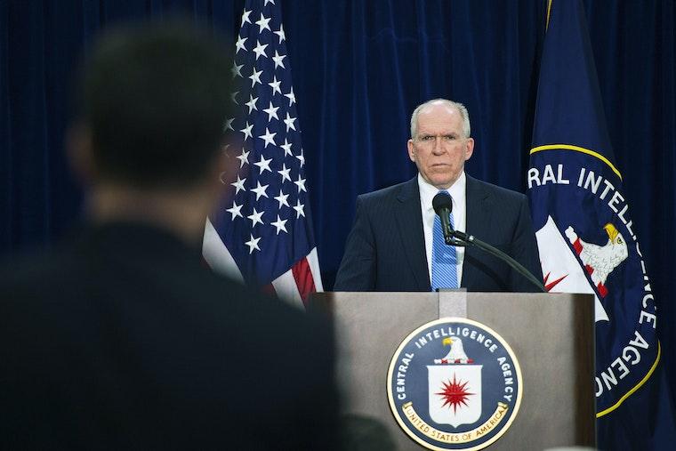 John Brennan at a podium