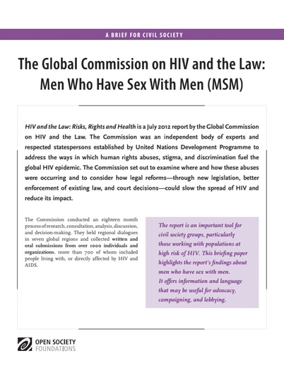 First page of PDF with filename: HIV-and-the-Law-Men-Who-Have-Sex-with-Men-20130930_0.pdf