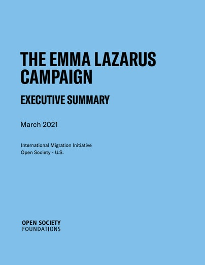 First page of PDF with filename: emma-lazarus-campaign-executive-summary-20210407.pdf