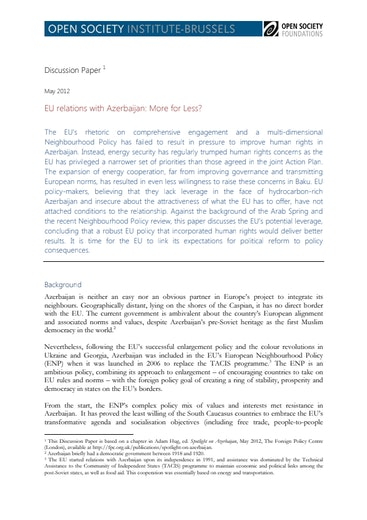 First page of PDF with filename: eu-relations-azerbaijan-20120606.pdf