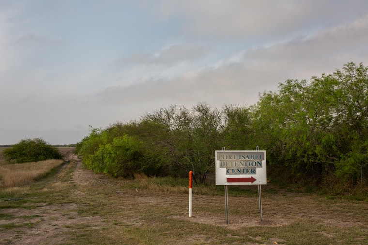 The entrance sign for Port Isabel Detention Center, in Los Fresnos, Texas