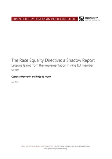 First page of PDF with filename: Race-Equality Directive-Shadow-Report-20130711.pdf