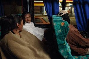 Women sitting on a bus