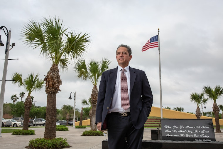Jaime Diez stands in front of the Federal Courthouse in Brownsville, Texas