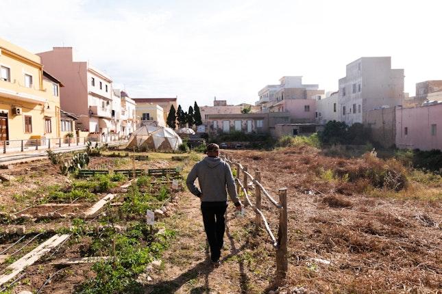 A man walking along a newly planted garden