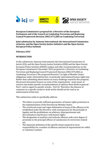 First page of PDF with filename: submission-ec-terrorism-directive-20160219.pdf