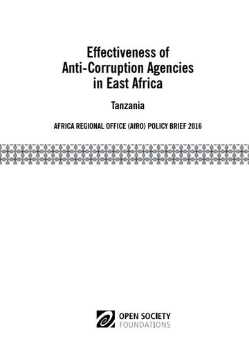 First page of PDF with filename: effectiveness-of-anticorruption-agencies-in-east-africa-tanzania-20160913.pdf