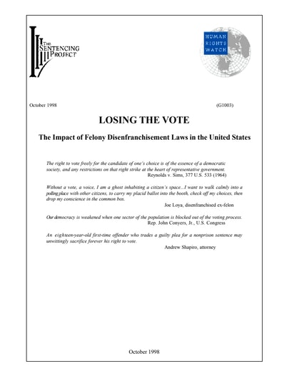 First page of PDF with filename: losingthevote.pdf