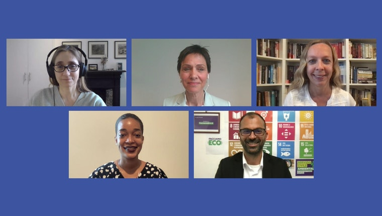 "Video still of Camilla Croso, Lorenzo Fioramonti, Haldis Holst, Iveta Silova, and Jhannel C. Tomlinson from ""Quality Education for Climate Action"