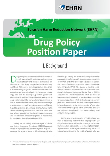 First page of PDF with filename: ehrn-drug-policy-position-paper-english-20100805.pdf