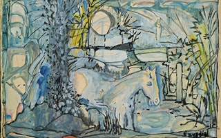 Mid-20th century landscape painting of blue horse by Emygdio de Barros