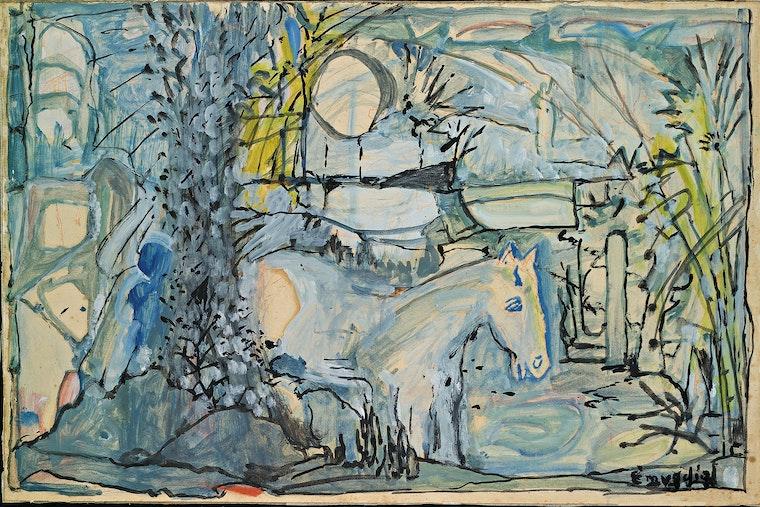 Mid-20th century landscape painting of blue horse by Emygdio de Barros