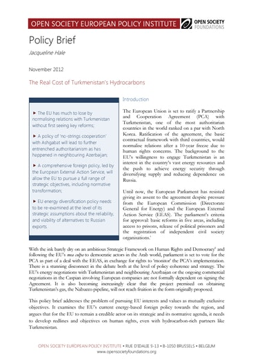 First page of PDF with filename: turkmenistan-policy-brief-20121203.pdf