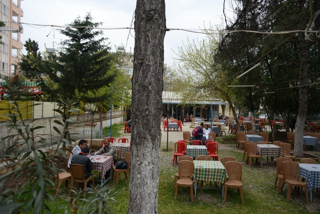 Chairs and tables at an outdoor cafe