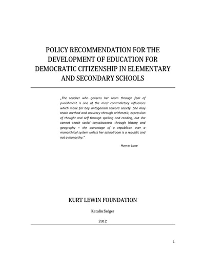 First page of PDF with filename: policy-recommendation-development-education-20131220.pdf