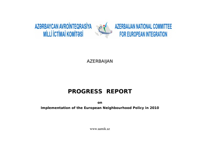 First page of PDF with filename: progress-report-azerbaijan-implementation-of-the-european-neighbourhood-policy-in-2010-20110101.pdf