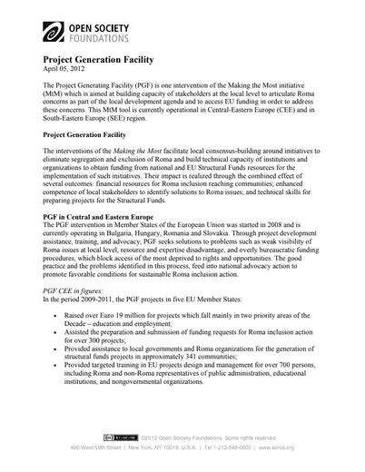 First page of PDF with filename: project-generation-facility-20120522.pdf