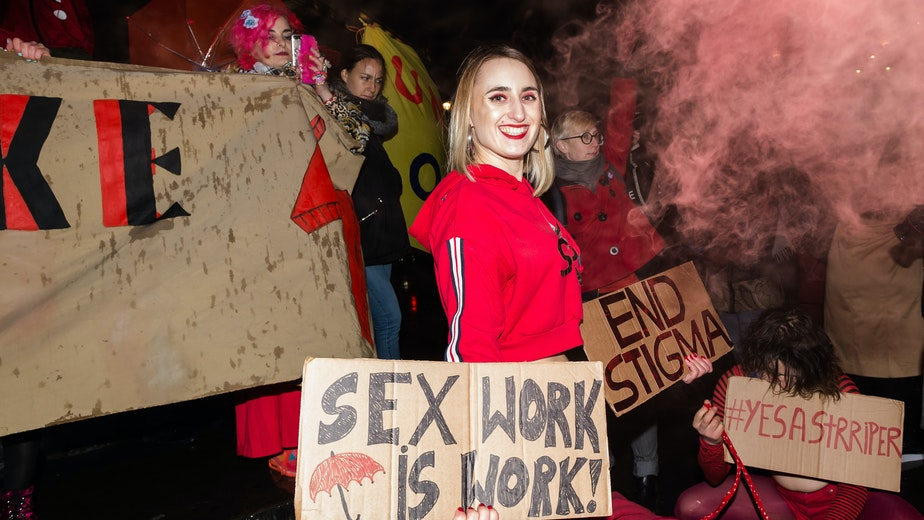 Sex workers demonstrate against discrimination in London, United Kingdom, on March 8, 2019.
