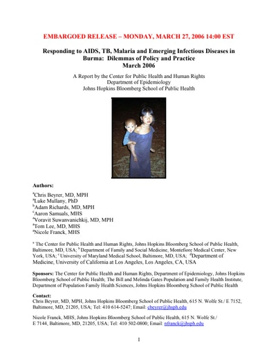 Responding to AIDS, TB, Malaria and Emerging Infectious
