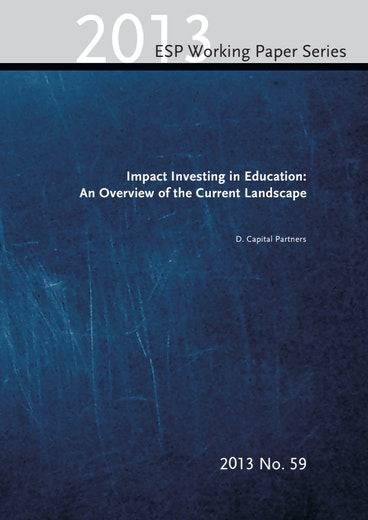 First page of PDF with filename: impact-investing-education-overview-current-landscape-20140106_0.pdf