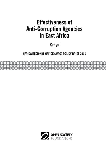 First page of PDF with filename: effectiveness-of-anticorruption-agencies-in-east-africa-kenya-20160913.pdf