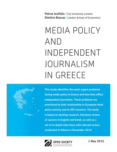 First page of PDF with filename: media-policy-independent-journalism-greece-20150511.pdf