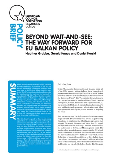 First page of PDF with filename: policy-brief-balkans-20100527.pdf