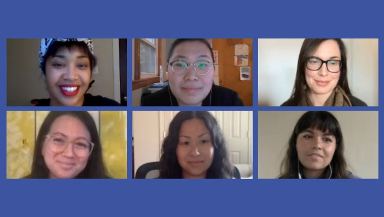Mortise with images of Katie Basile, Joy Chia, Tonika Johnson, Mayela Rodriguez, Arin Yoon, and Daniella Zalcman