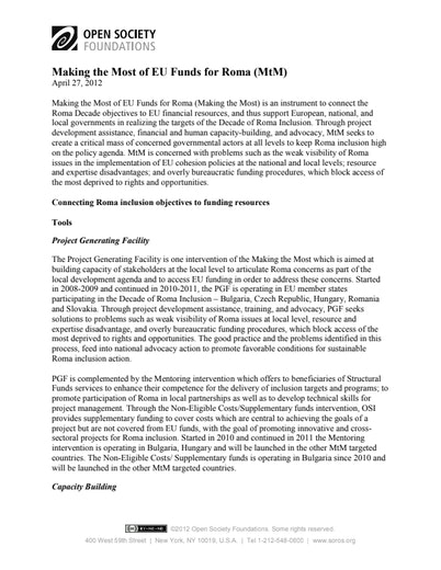 First page of PDF with filename: making-most-eu-funds-roma-20120522.pdf
