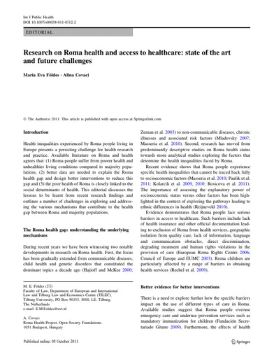 First page of PDF with filename: research-on-roma-health-20111005.pdf