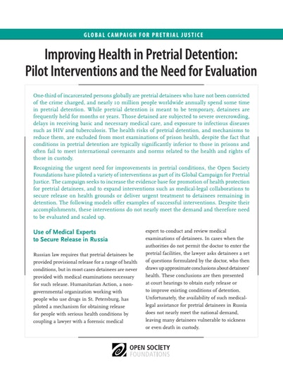 First page of PDF with filename: pretrial-detention-health-20110531.pdf
