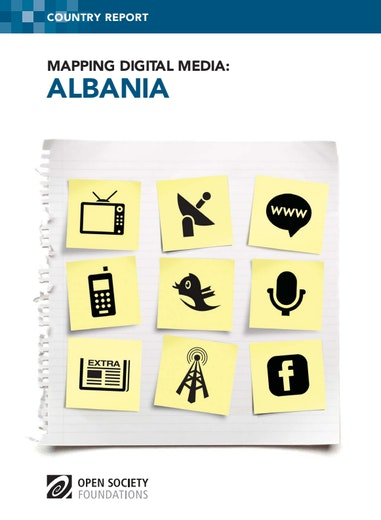 First page of PDF with filename: mapping-digital-media-albania-20120217.pdf