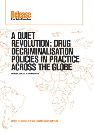 First page of PDF with filename: release-quiet-revolution-drug-decriminalisation-policies-20120709.pdf