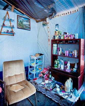 beauty salon in tent