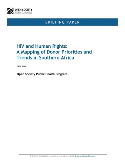First page of PDF with filename: HIV-human-rights-mapping-donor-priorities-trends-southern-africa-20140609.pdf