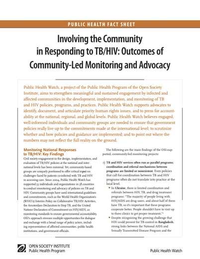 First page of PDF with filename: TBHIV_Community_Involvement.pdf