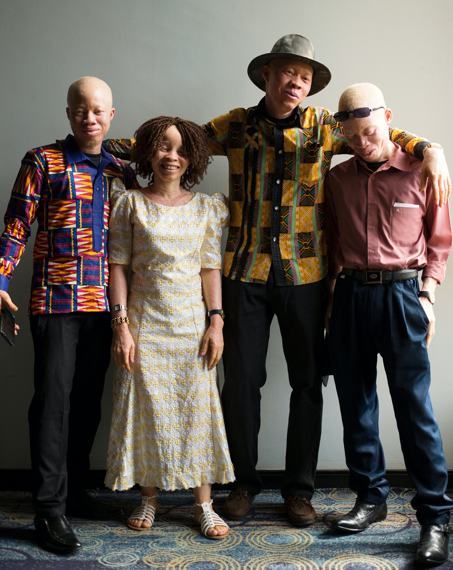 Young people with albinism from across Mali and east and west Africa pose at a conference on albinism in Mali.