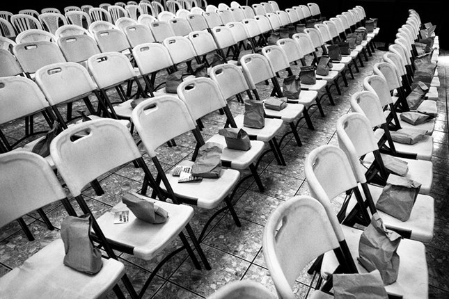 chairs with paper bags