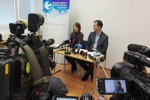 Zuzana Hlávková at a press conference
